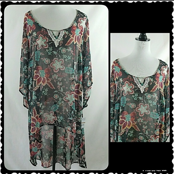 ONE WORLD Tops | Plus Size Duster Tunic Top Caftan 3x | Poshmark